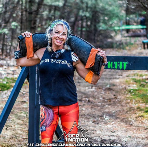 Kristine wearing fight2thrive leggings on obstacle course race OCR