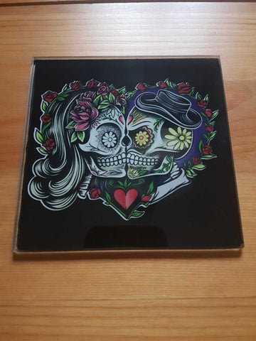 Sugar skull glass coasters - SocialPariah