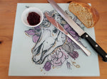 Unicorn skull glass cutting board-large - SocialPariah