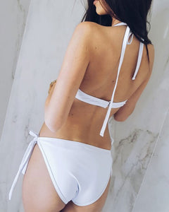 Halter  Backless Lace-Up  Hollow Out Plain Bikini