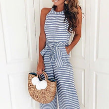 Load image into Gallery viewer, Striped Vacation Casual Jumpsuit