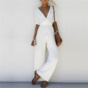 Stylish Crossed Deep V Jumpsuit