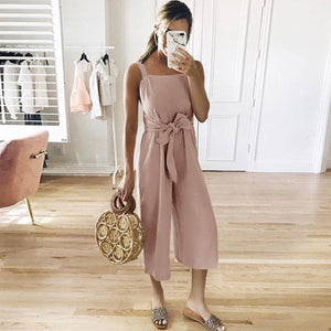 Spaghetti Straps Belt Plain Sleeveless Jumpsuits