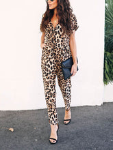 Load image into Gallery viewer, Sexy Leopard Print V Neck Long Sleeve Jumpsuits
