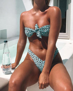 Strapless  Bowknot  Two Way  Leopard Bikini