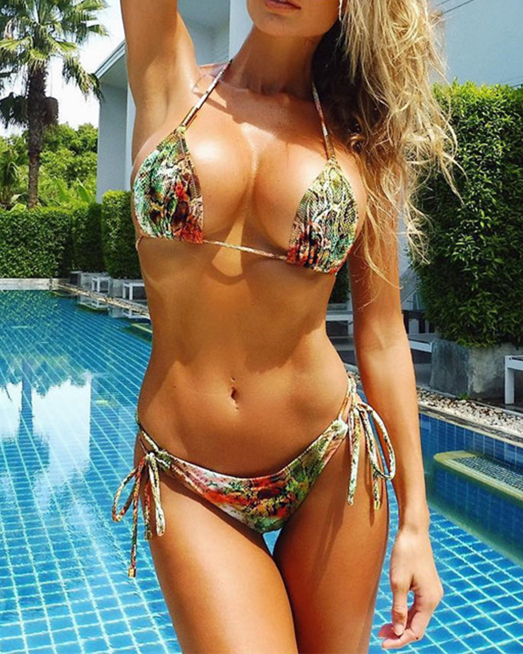 Halter  Backless Lace-Up  Printed Bikini