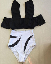 Load image into Gallery viewer, Ink Drop Shoulder Split Small High Waist Bikini