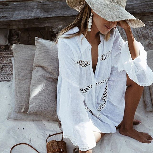 Shirt Type Trumpet Sleeve Beach Blouse Sun Protection Dress
