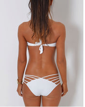Load image into Gallery viewer, Halter  Backless Drawstring  Hollow Out Plain Bikini