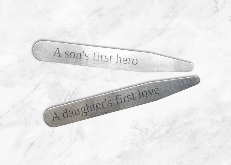 "A Son's first Hero, A Daughter's First Love - Personalized Collar Stays in a Beautiful Glass Tube (2.5""; Choice of Matte or Polished)"