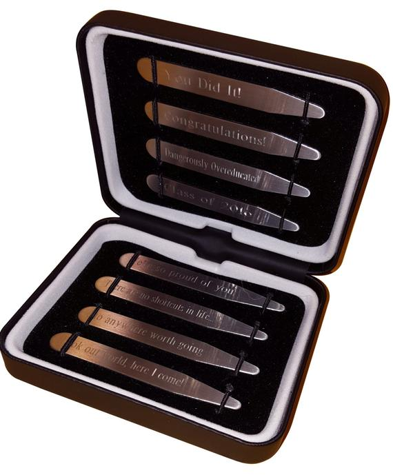 "Graduation Gift! Personalized Collar Stays in a Luxurious Gift Box (2.5"" & 2.75""; Matte)"