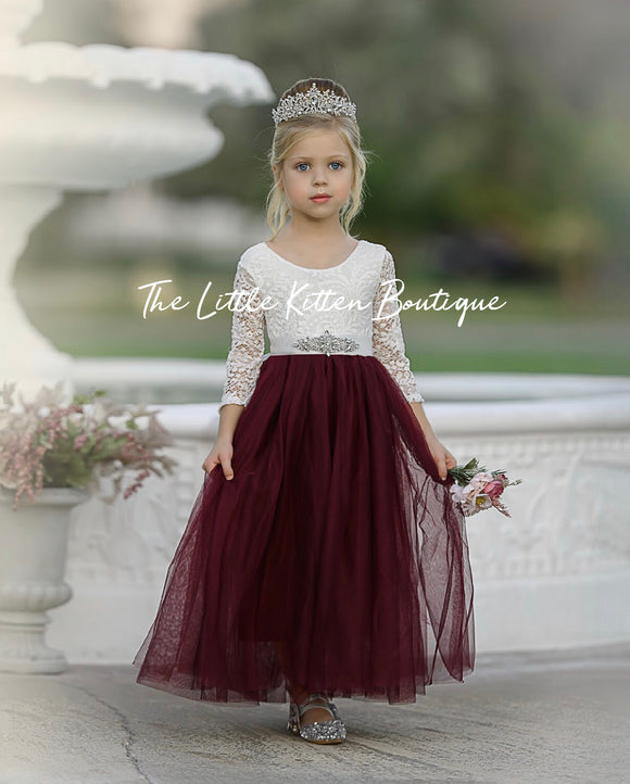 Flower Girl dress with white lace bodice and blush, ivory or white tulle