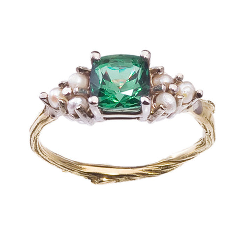 Pearl Engagement Ring with Cushion Cut Tourmaline. 18K Gold Twig Band. Nature Inspired Engagement Ring.