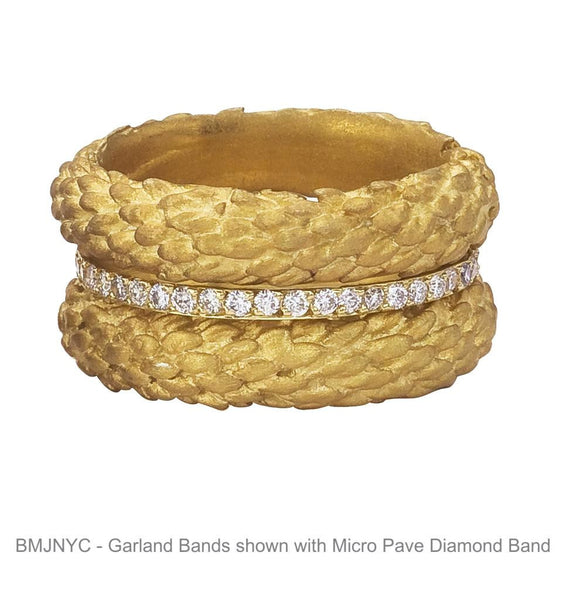 Garland branch bands in 18K yellow gold with diamond eternity ring center.  Wide Ring for wedding or not.