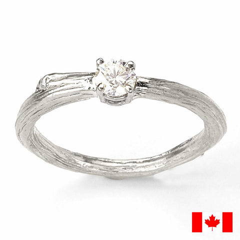Solitaire Canadian Diamond Twig Engagement Ring  in White 18K Recycled Gold.
