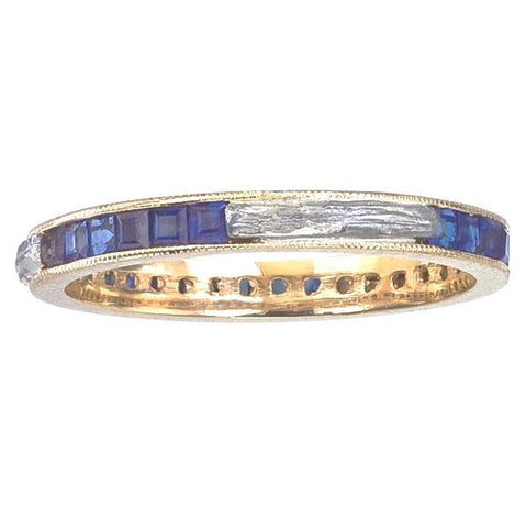 Nature and Vintage  Inspired Eternity Ring with Blue Sapphires and Branch Inlay.  Recycled Gold, Princess Cut Sapphires.