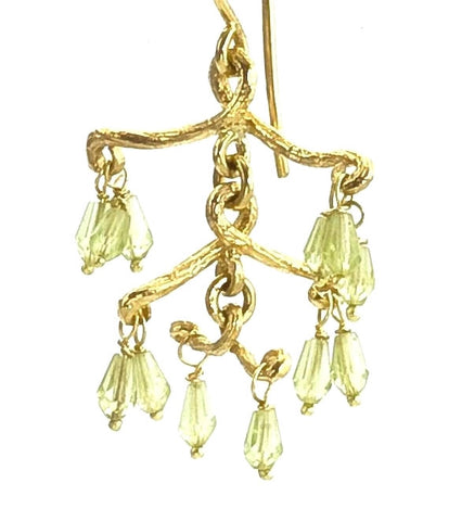 Twig Chandelier Earrings with Peridot, 18K recycled Gold, Multi Level