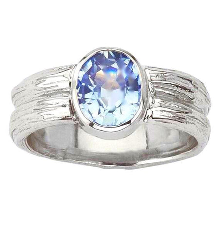 Sky blue oval sapphire twig ring. Designed by Barbara Polinsky.
