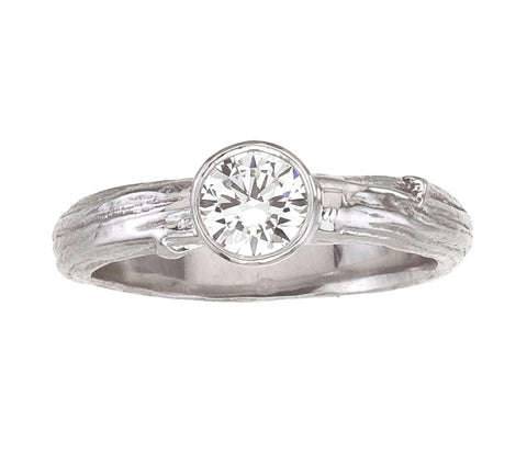 diamond engagement ring - bezel set diamond on branch band white gold nature inspired