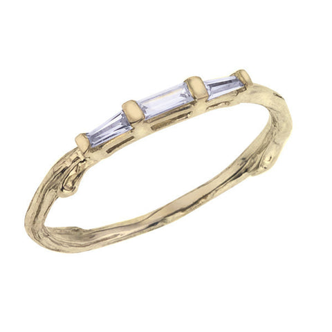 Baguette Wedding Ring, Nature inspired Twig Branch Design Pictured in Yellow Gold