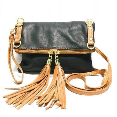 Black and Tan Leather Purse with tassels and zip front closure