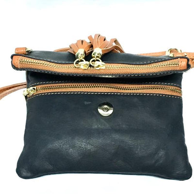 Leather Purse with dual pockets and tassel zipper, black and tan