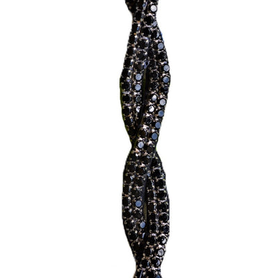 Black crystal thin beaded hat band