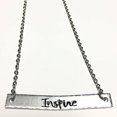 Inspire - Hand Stamped Bar Necklace - Infinity Headbands by Ambrosia Designs