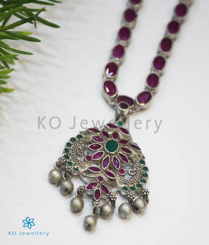 The Kusum Silver Kempu Necklace (Oxidised)