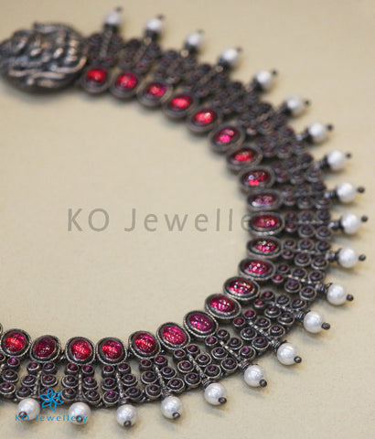 The Antara Silver Kempu Necklace (Oxidised)