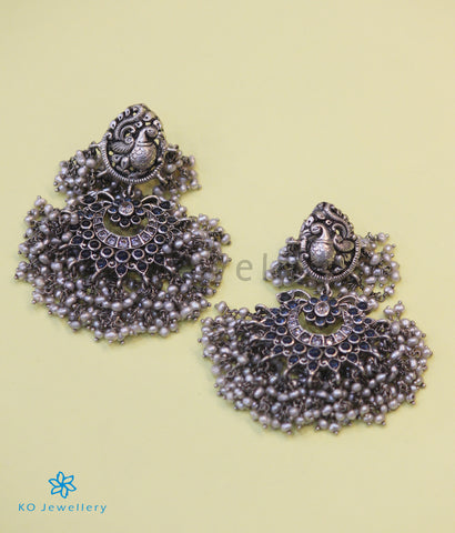 The Ubhaya Silver Peacock Earrings (Oxidised)