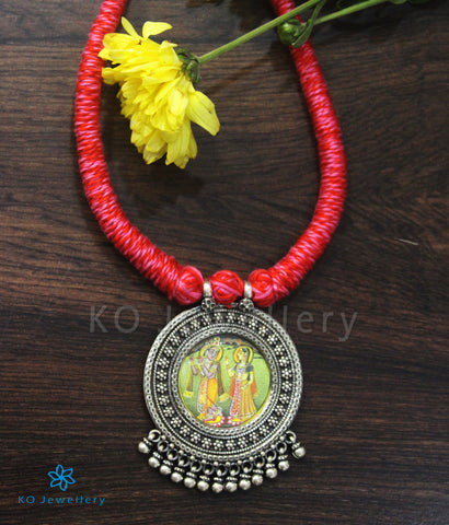 The Radhe-Shyam Silver Handpainted Necklace