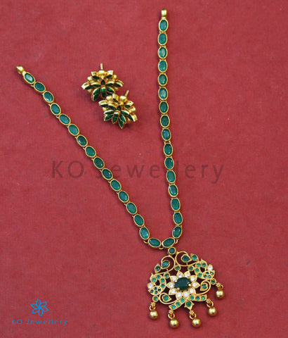 The Vashist Silver Kempu Necklace (Green)