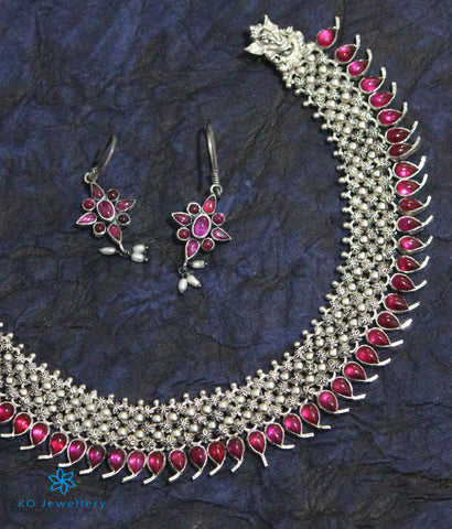 The Adidev Silver Kempu Necklace (Oxidised)