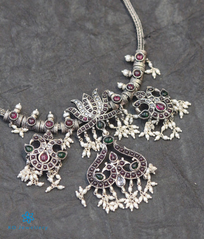 The Utpala Silver Peacock Kempu Necklace