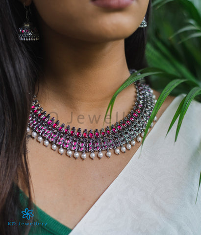The Ahalya Silver Kempu Necklace (Oxidised)