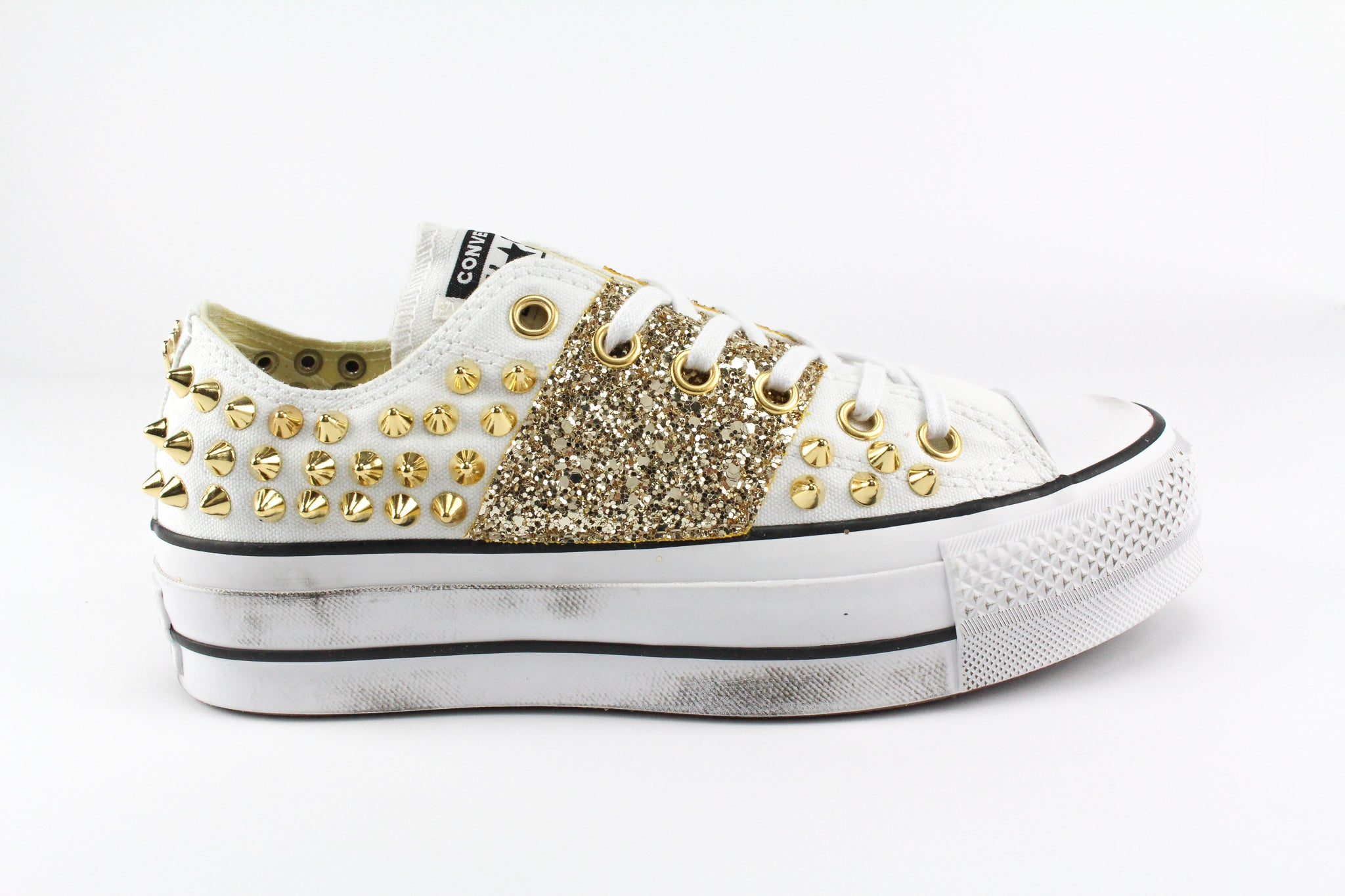 Converse All Star Platform White Borchie & Gold Glitter