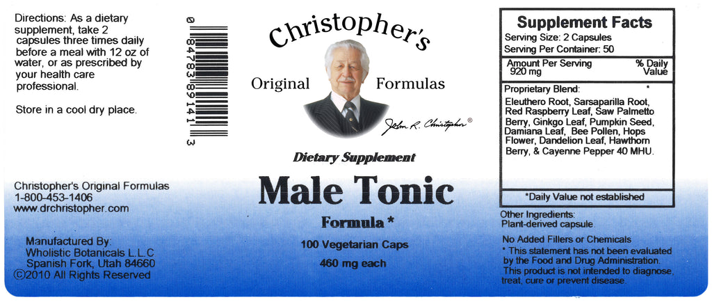 Male Tonic Formula Capsule Label