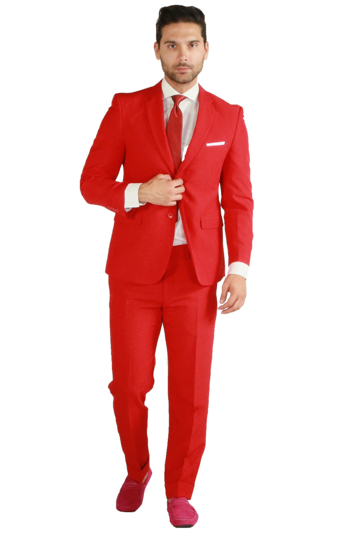 Paul Lorenzo 1969 Red Solid Slim Fit Suit