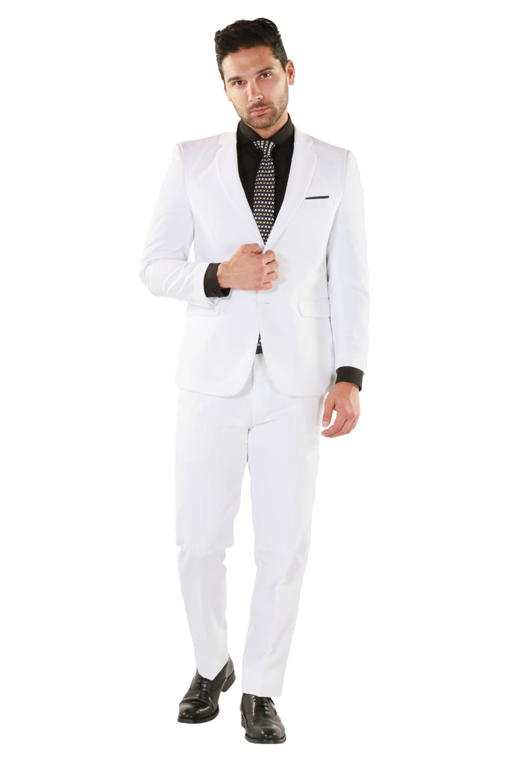 Paul Lorenzo 1969 White Solid Slim Fit Suit
