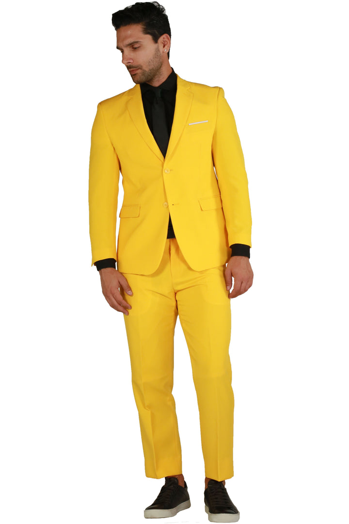 Paul Lorenzo 1969 Yellow Solid Slim Fit Suit