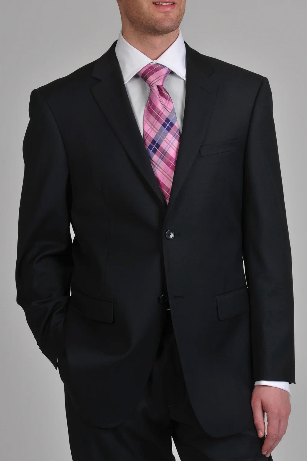 Prontomoda Solid Navy Suit