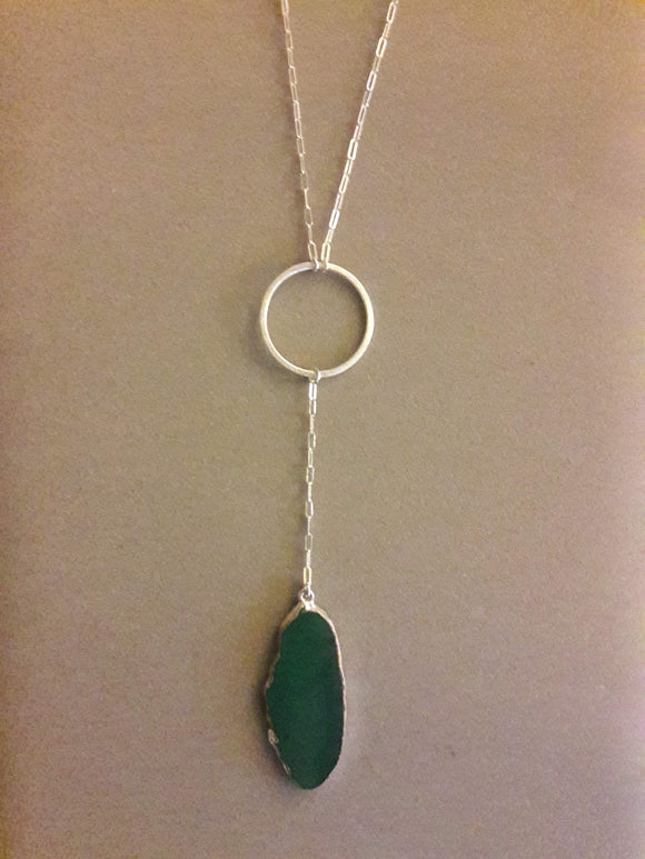Sun or Moon Drop Necklace with Agate Slice Pendant