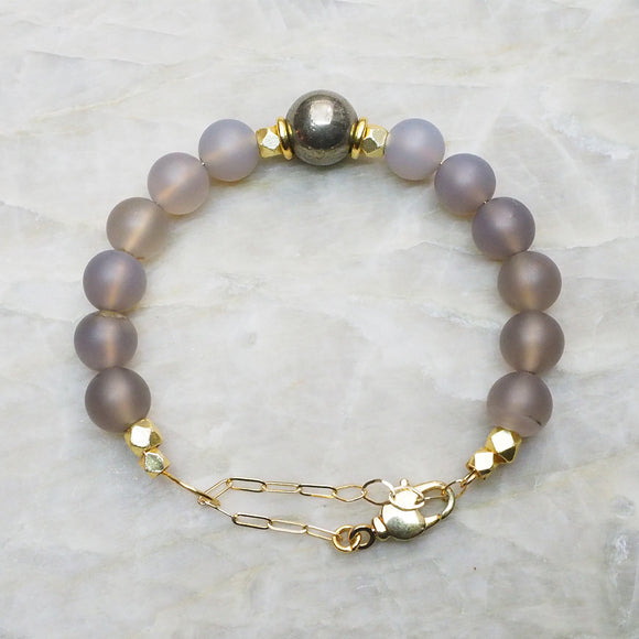 Classic Adjustable Beaded Bracelet in Gray Agate, Pyrite and Gold :: Vital Element Jewelry