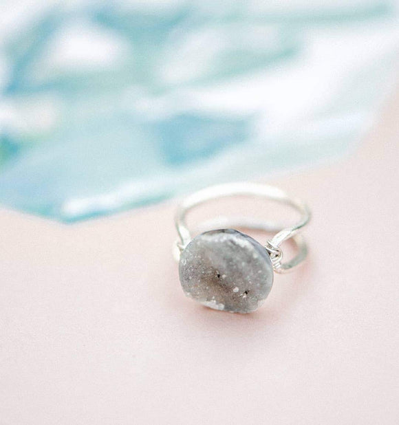 Occo Druzy Silver Plated Double Curve Ring