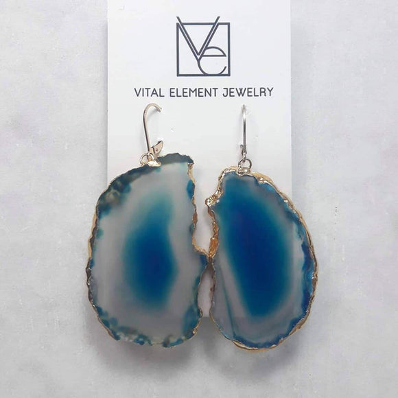 Agate Slice Earrings :: #116
