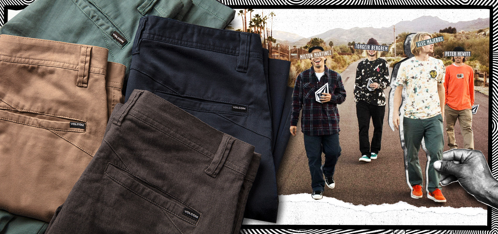 4 different color Frickin Chinos in different colors with an image of 4 Volcom team riders wearing Volcom apparel.