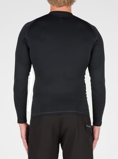 Lido Solid Long Sleeve Rashguard In Black, Back View