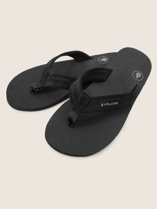 Driftin Leather Sandals In Black, Front View