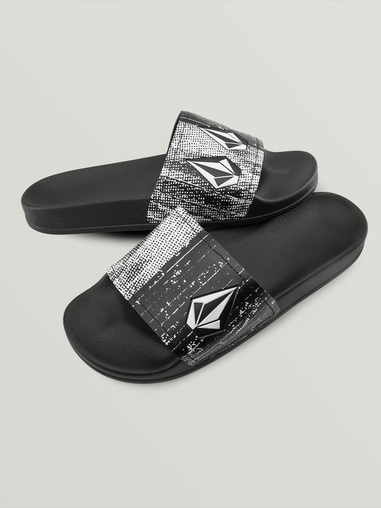 Don't Trip Slides In Black White, Front View